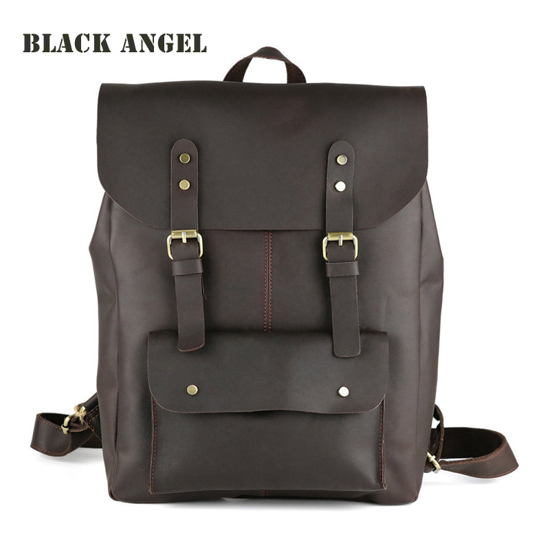 Luxury natural genuine leather men backpacks multifunctional vintage Leather men's travel bags shoulder bag