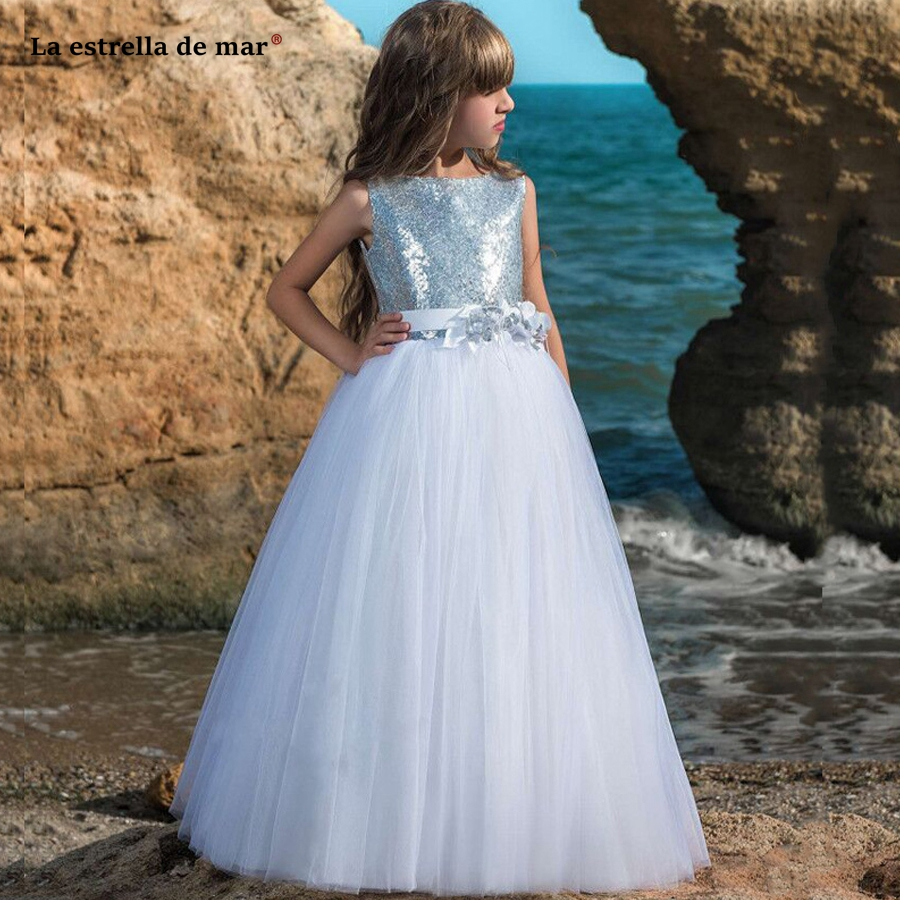 La estrella de mar custom   flower     girl     dress   2019 new tulle sequins Scoop Neck a Line white vestido daminha long plus size cheap