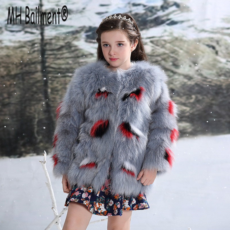2017 New Children Real Fox Fur Coat Grils Winter Short Warm Whole Fur Coat High-quality Fox Fur Natural Clothing Thick Coat C#28 5 colors 2017 new long fur coat parka winter jacket women corduroy big real raccoon fur collar warm natural fox fur liner