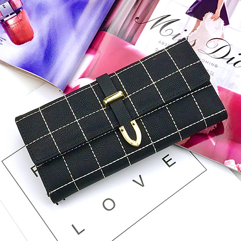 AOEO Wallet for Women Purse Girls Thread Plaid Leather Fashion Design With Polyester Phone Bag Long Slim Ladies Female