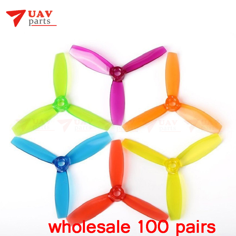 wholesale 100 pairs DYS 3045 3 Inch 1 Hole Propellers 3 Blade Prop for BX1306 SE1407