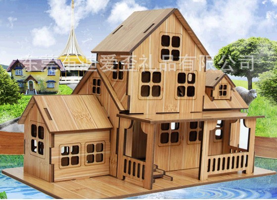 new diy wood 3d building puzzle beautiful toy country