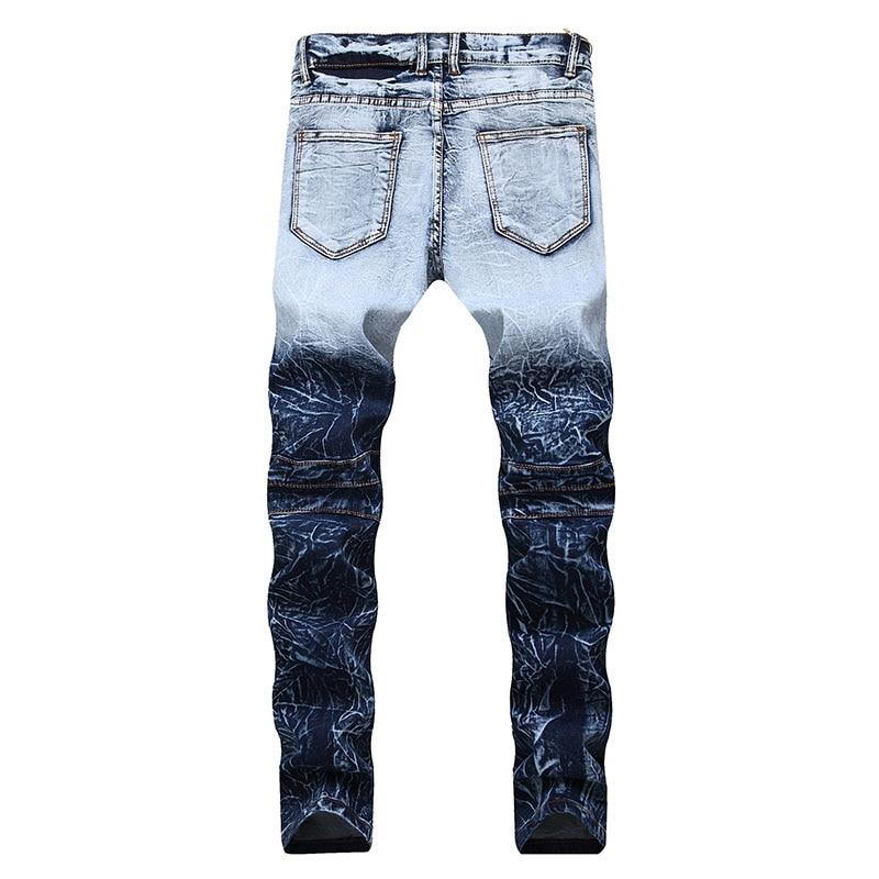 724af10c635 2019 Men Ripped Jeans Biker Slim Fit Pleated Jeans Pants Fake Zipper ...
