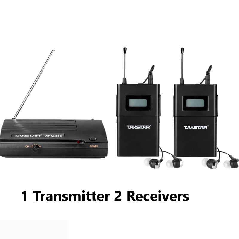 Original NEW Takstar Wpm 200 Wireless Monitor System In Ear Stereo 1 Transmitter 2 Receivers Stage