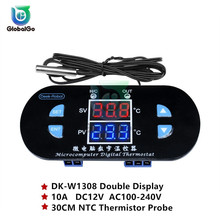 DC12V AC100-240V 10A Double LED Digital Thermostat Temperature Controller Regulator Switch DK-W1308 NTC Thermistor Probe 30CM стоимость