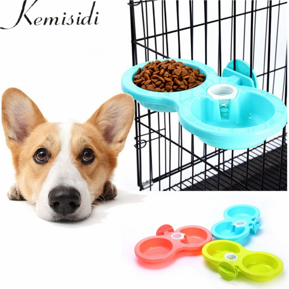 KEMISIDI Dual Use Dogs Double Bowl Automatic Water Drinking Feeder For Puppy Dog Cat Pet Cage Hanging Bowl S/L 3 Colors