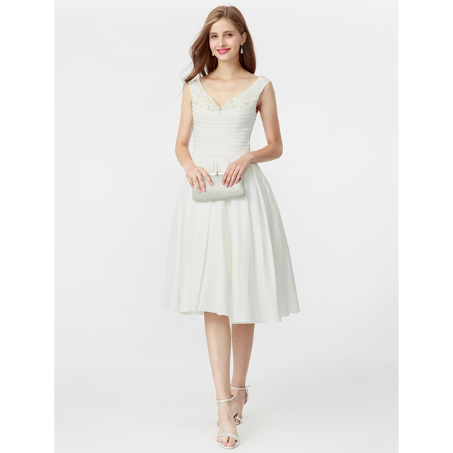 Ts Couture Princess Fit Flare V Neck Knee Length Satin Tail Party Dress With Beading