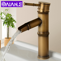 Bathroom Faucet Retro Brass Basin Sink Faucet Waterfall High Bamboo Hot Cold Mixer Water Tap Single Handle WC Taps 2 Pipe