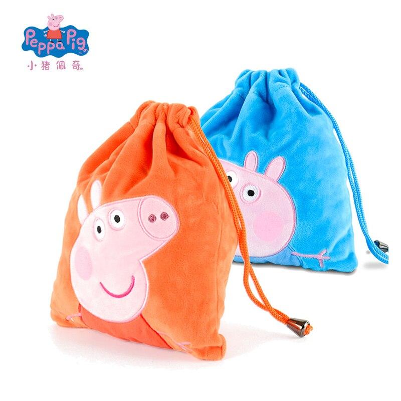 Genuine Peppa Pig George Pig Plush Toys Kids Girls Boys Kawaii Kindergarten Bag Backpack Wallet Money School Bag Phone Bag Dolls 4