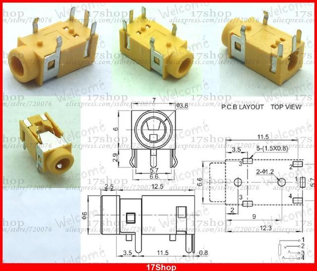 20pcs 3 5mm headphones 3 5mm stereo jack socket pcb panel mount soldering  pj-322