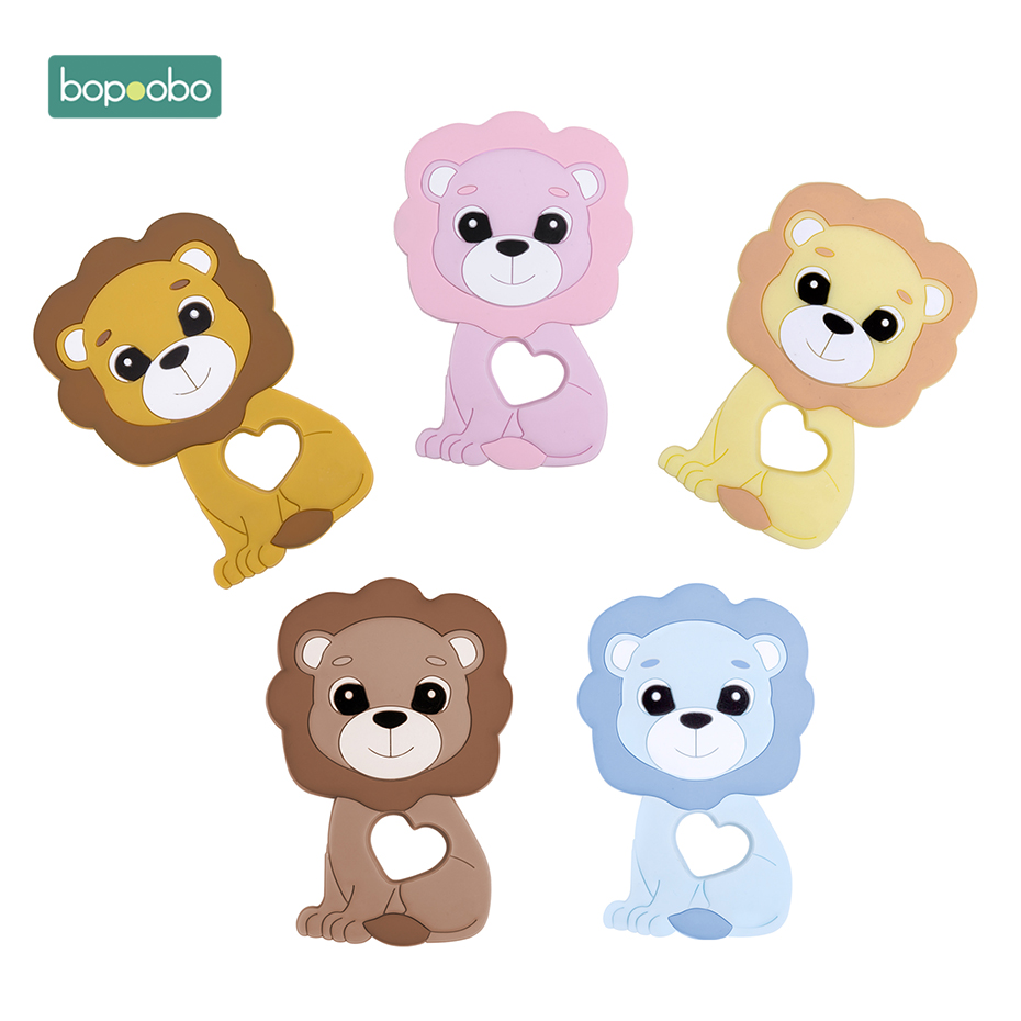 Bopoobo 1pc Silicone Teething Beads Baby Teether Food Grade Lion  Bead DIY Chewable Toys Nursing Teething Pendant Baby Products