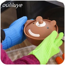 1PCS Kitchen Silicone Oven Gloves Heat Resistant Microwave BBQ Baking Cooking Accessories
