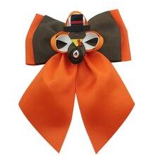 7 inch Thanksgiving day girls hair bows cartoon Turkey Polyester Hair accessory clip premium hairpins