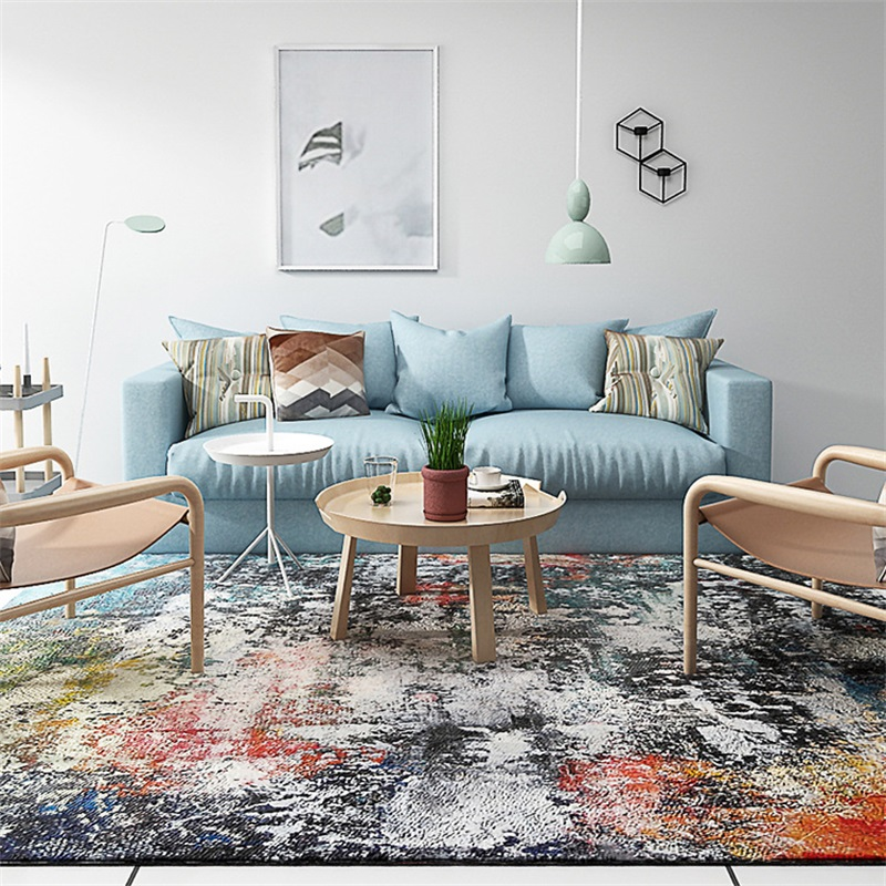 Fashion Modern Artistic Abstract Colorful Paint Parlor Living Room Decorative Carpet Floor Door Yoga Mat Pad Bathroom Area Rug