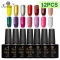 Saviland 12pcs 10ml Soak Off Semi Permanent Pure/Glitter Color Gel Lacquer Long Lasting Uv Gel Nail Polish Varnish Art