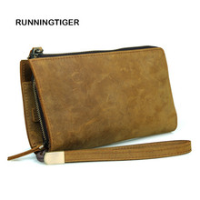 RUNNINGTIGER Crazy Horse Leather Men Long Wallets Dollar Price Oxhide Card Holder Soft Purse Male Business Casual Clutch Wallet