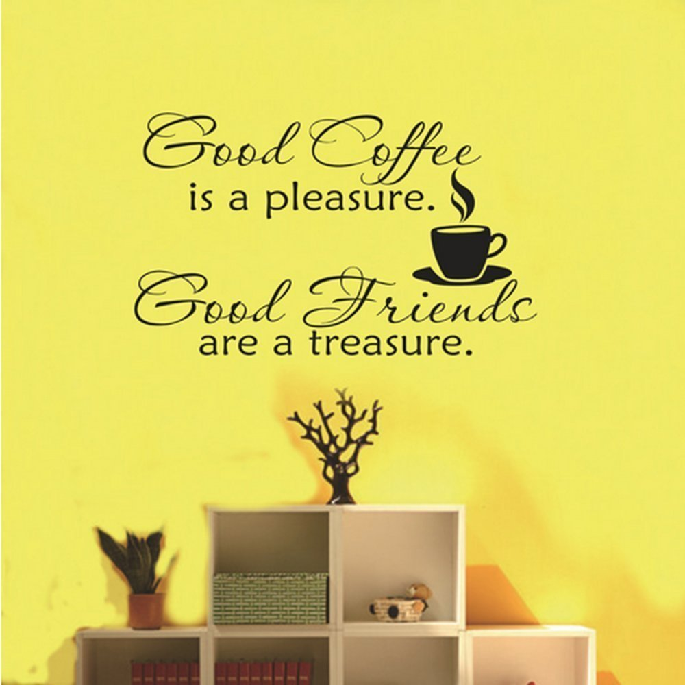 Good Coffee Friends Wall Vinyl Sticker Decal Quote Saying Home Room ...