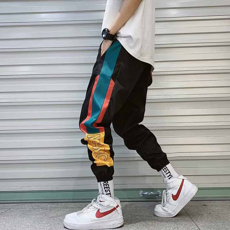 Hip Hop Streetwear Men's Splice Joggers Pants Fashion Men Casual Cargo Pant Trousers High Street Elastic Waist Harem Pant Men