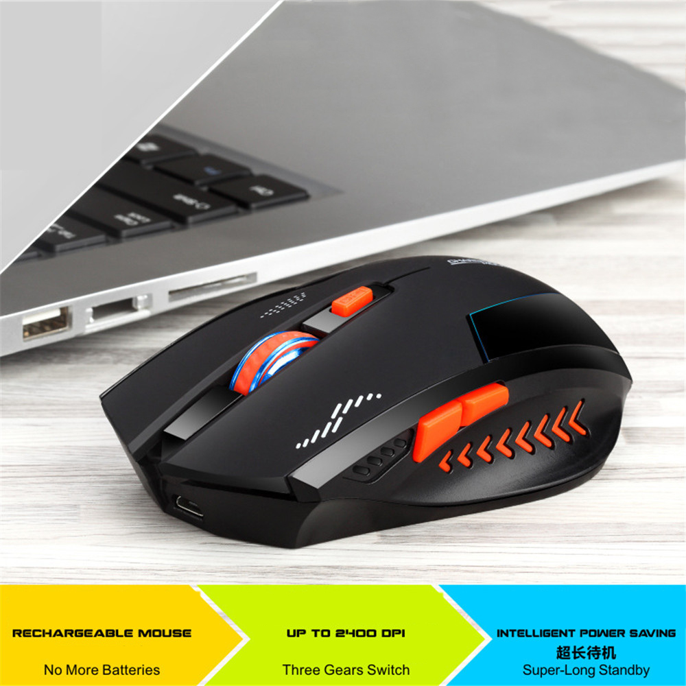 2.4Ghz Wireless Gaming Mouse Cool Backlit Rechargeable Mouse 2400DPI Optical Mice 10m Distance for ASUS HP DELL Lenovo Laptop