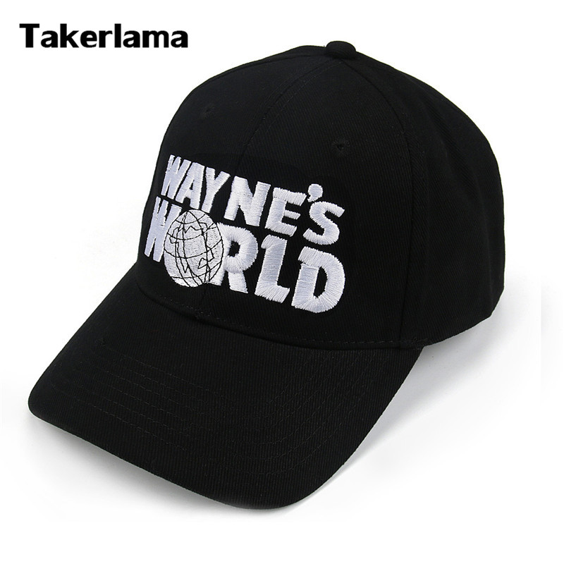 все цены на Takerlama Wayne's World Black Cap Hat Baseball Cap Fashion Style Cosplay Embroidered Trucker Hat Unisex Mesh Cap Adjustable Size