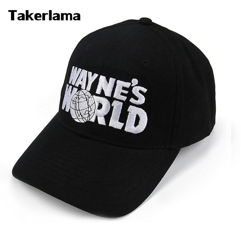 Takerlama Wayne's World Black Cap Hat Baseball Cap Fashion Style Cosplay Embroidered Trucker Hat Unisex Mesh Cap Adjustable Size