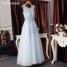 VENSANAC 2017 New A Line Lace Appliques O Neck Long Evening Dresses Sleeveless Elegant Beadings Sash Embroidery Party Prom Gowns vensanac 2017 new a line lace appliques o neck long evening dresses sleeveless elegant beadings sash tank party prom gowns