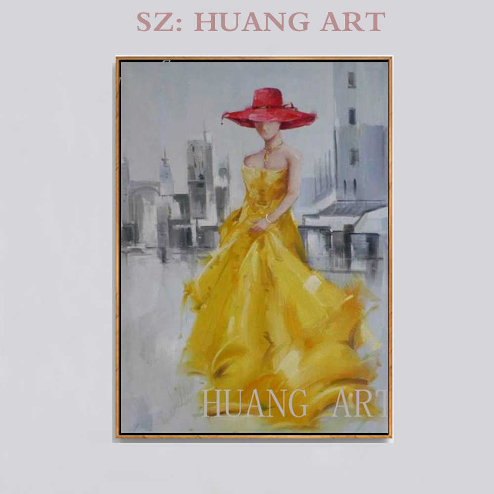 Hand Painted Oil Painting Abstract Ideas In Yellow With Red Hat S Sexy Girl Human Modern Minimalist Art Hall Study Living Room Oil Painting Hand Painted Oil Paintingpainting Abstract Aliexpress
