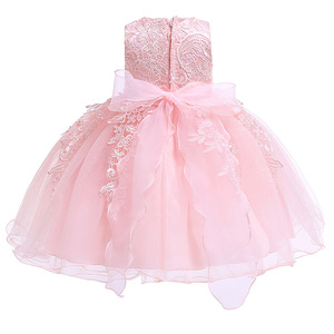 Image 2 - Newborn Baby Girls Christening Dresses Infant Toddler Baptism Gown Children Wedding Party White Frocks Birthday 1 Year Outfit