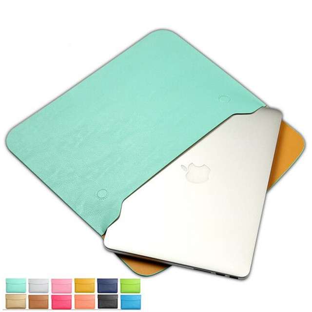 "Fashion PU Leather Notebook Sleeve Bag Waterproof Protector Case for Mac book 11"" 12"" 13"" 15"" Macbook Air Pro  Laptop Carry Bag"