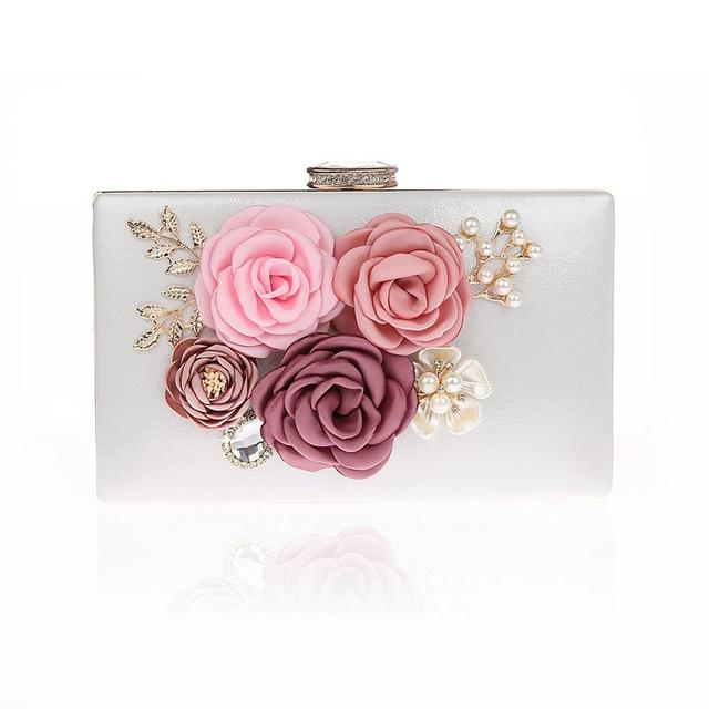 Dame 6 Farben Handgefertigten Stoff Blumen Abendtasche Luxus