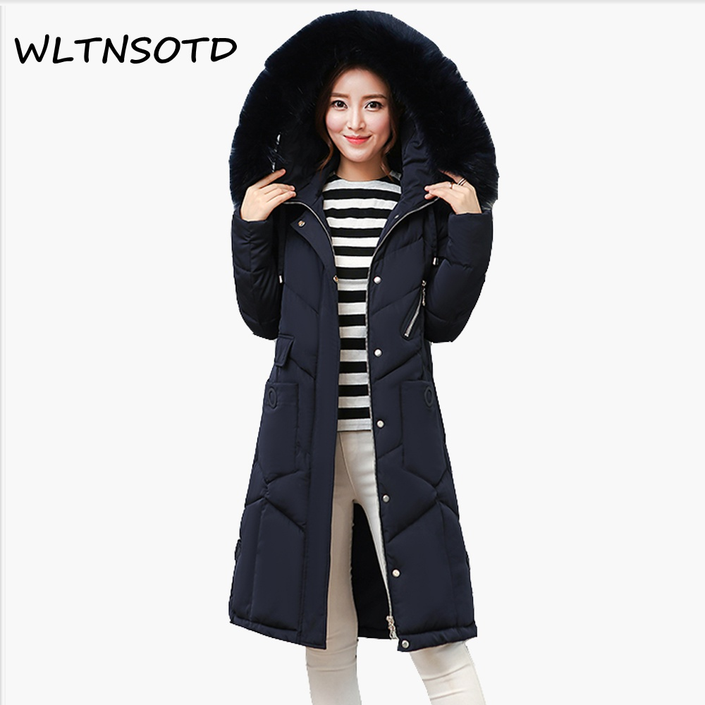 2017 Real Full New Winter Cotton Coat Women Long Thick Big Fur Collar Large Size Loose Jacket Female Fashion Warm Hooded Parkas 2013 winter fashion female short doll style real rex rabbit fur collar thick cotton padded jacket loose cape cloak coat d2031