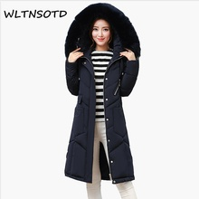 2017 Real Full New Winter Cotton Coat Women Long Thick Big Fur Collar Large Size Loose Jacket Female Fashion Warm Hooded Parkas