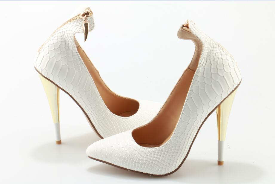 White Crocodile Leather High Heels Pumps Women Pointed Toe Back Zipper Shoes Gold Cone Heel Party Dress Shoes Real Photo in Women 39 s Pumps from Shoes