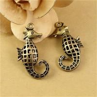 (10 pieces/lot) 21*40MM antique bronze Color vintage style metal alloy hollow sea horse charm pendant diy jewelry hm935