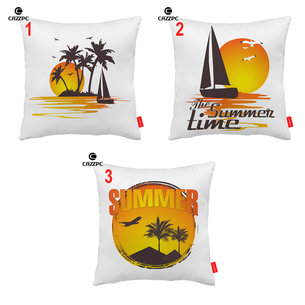 Vintage Summer Palm Sailing Boat Island Mark Print Decorative Pillowcase Cushion Covers Sofa Chair Home Decor