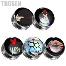 TBOSEN 2PCS Customized Ear Stretcher Gauges Piercing Tunnels Plug Screw Steel Fashion Expander Body Jewelry Earrings Gift Unisex