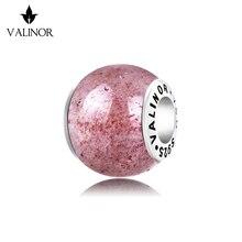 Abalorios de cuentas de plata esterlina 925 de cristal de fresa, compatibles con pulseras y brazaletes TRBS012