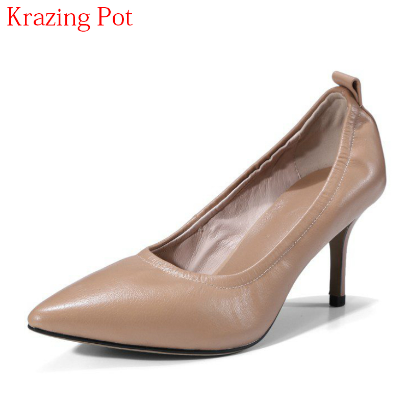 2018 Superstar Genuine Leather Concise Slip on Wedding Shoes Pointed Toe High Heels Stiletto Runway Handmade Women Pumps L9f1 2018 superstar genuine leather streetwear med heels tassel slip on women pumps round toe retro sweet handmade casual shoes l03