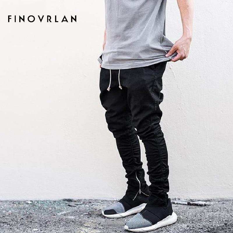 Streetwear Harem Pants Men Draw String Elastic Waist Hip Hop Pants Leg Opening Zipper Male Trousers Kanye Justin Bieber Pants