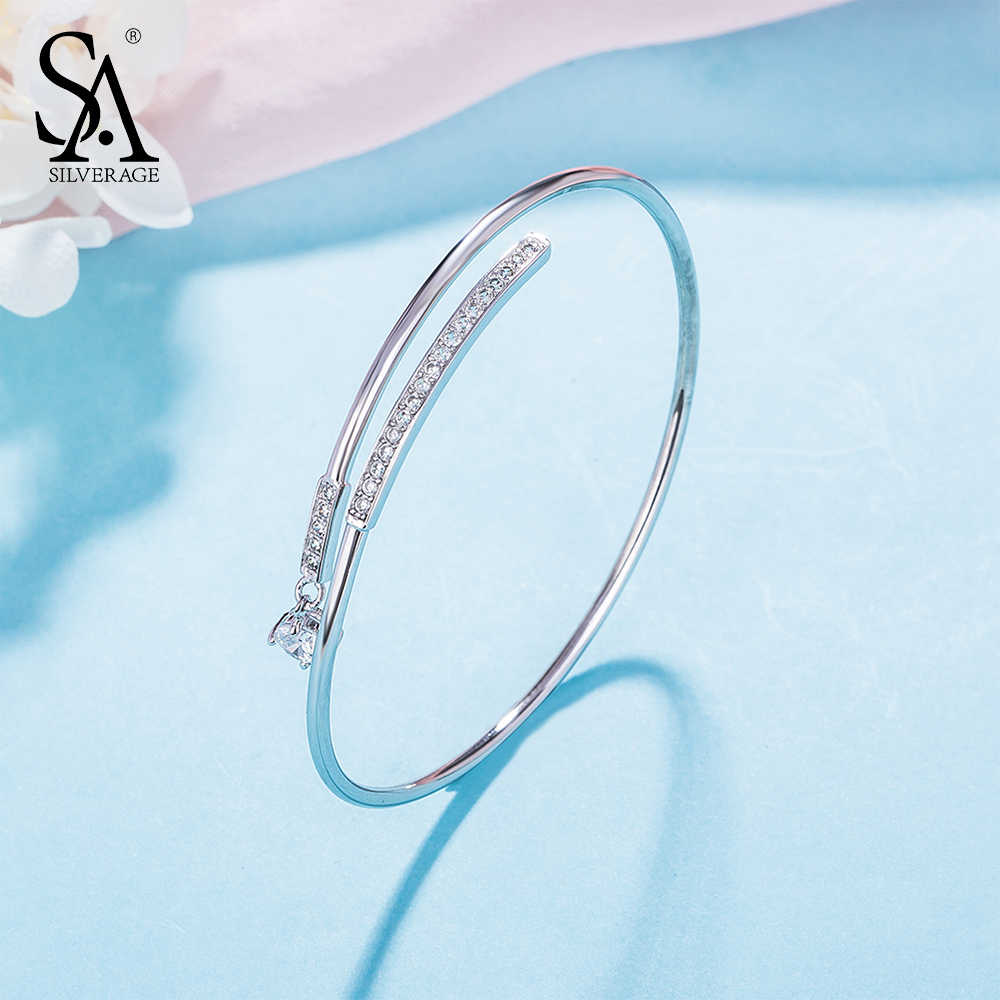 SA SILVERAGE 925 Sterling Silver Bracelets & Bangles Wedding Adjustable Cuff Bangles Bracelets for Women Fine Jewelry