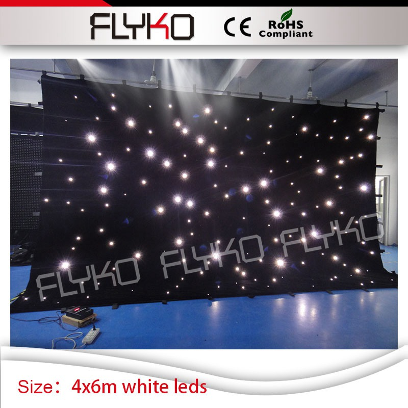 fireproof indoor wedding party 4x6m good quality white leds star curtain|Stage Lighting Effect|Lights & Lighting - title=