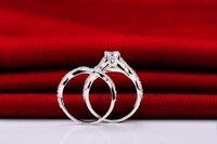 1 карат (6.5 мм) nscd моделирование алмаз женские свадебные Кольца комплект Классический стерлингового серебра 925 кольцо полосы ювелирные издел