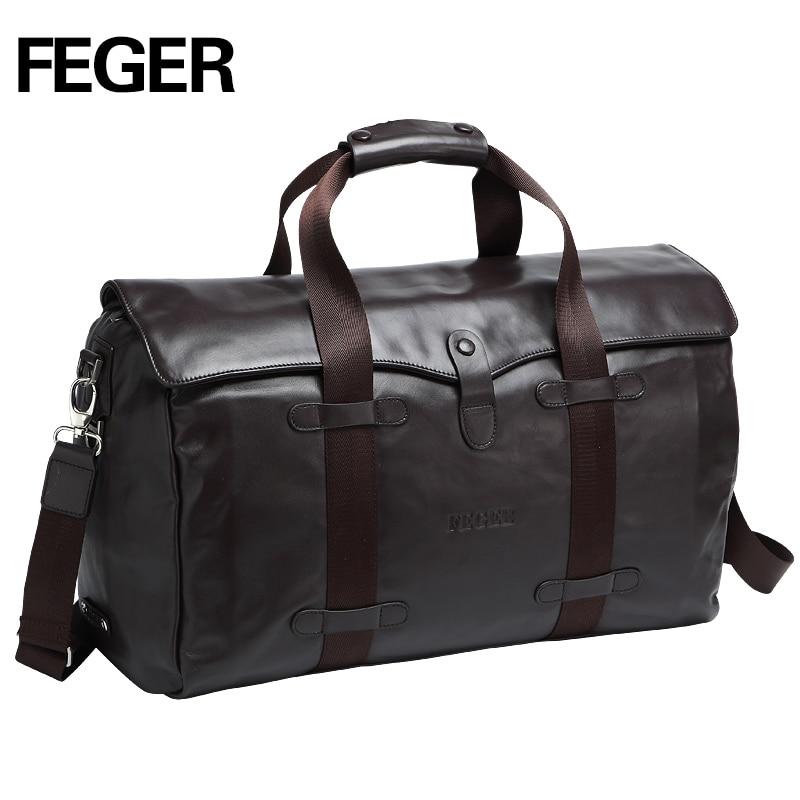 2016 FEGER zipper travel font b bag b font fashion brown genuine leather large capacity business