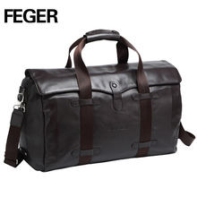 2017 FEGER zipper travel bag fashion brown genuine leather large capacity business weekend bag real leather