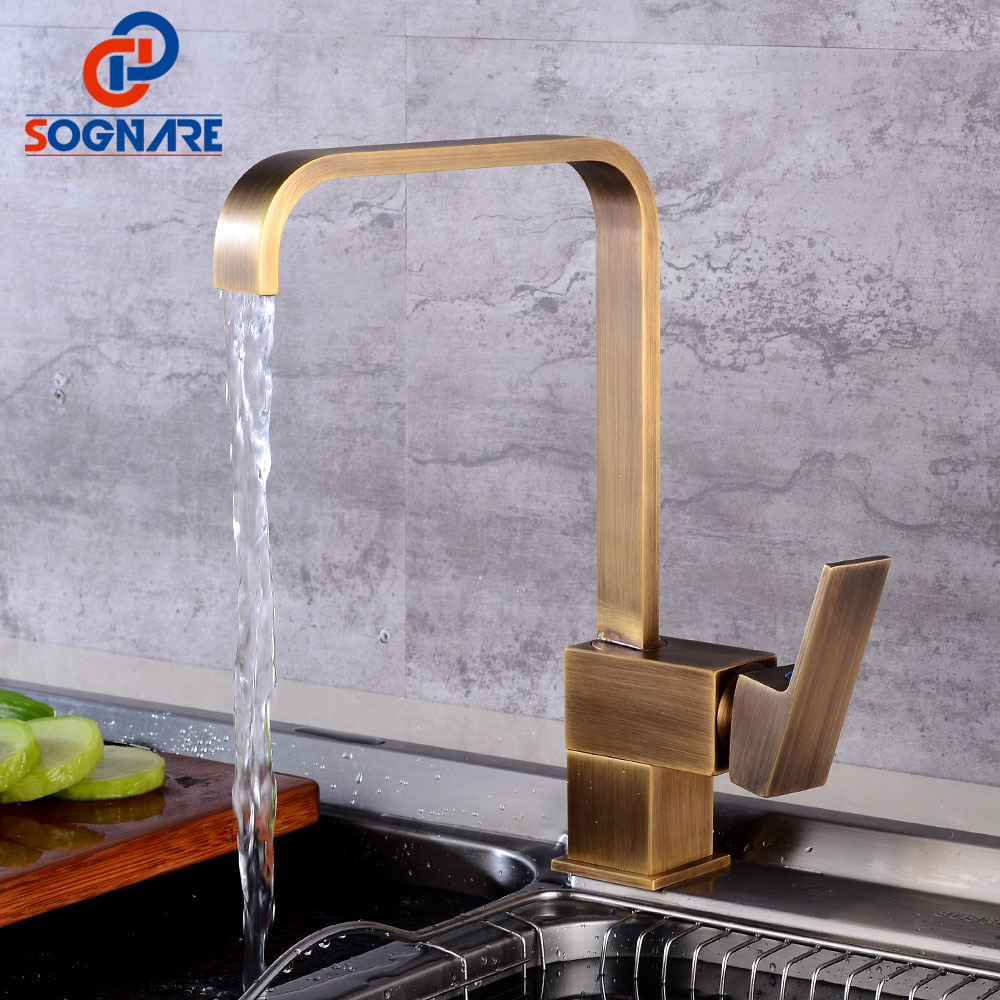 SOGNARE Kitchen Water faucet Antique Deck Mounted Rotation Single Handle Brass Faucet Sink Kitchen Tap Waterfall Faucet Cold Hot phasat 4905 modern chromed brass waterfall kitchen sink faucet water tap silver