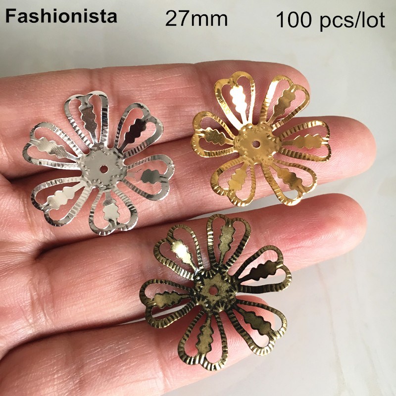 Flight Tracker 100 Pcs Filigree Metal Flowers Bead Caps 27mm Open Design,gold-color,silver-color,steel,bronze,diy Jewelry & Crafts Findings Jewelry Findings & Components