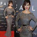 Berenice Marlohe Skyfall Paris Premiere 2013 Long Sleeves Celebrity Dresses Round Neck Sequins Split Belt Heavy Crystal