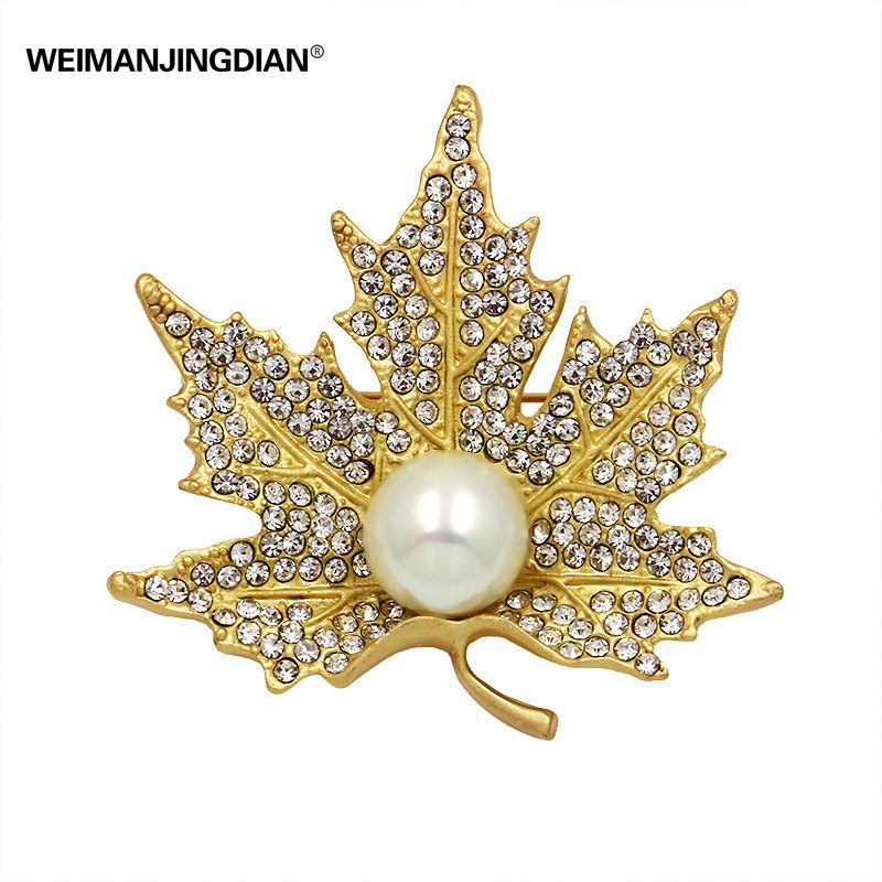 Factory Direct Sale Clear Crystal Rhinestones The Maple Leaf Brooches and Lapel Pins Kate Middleton Jewelry