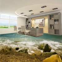 Free Shipping Beach spray stone 3d living room bathroom floor waterproof wear non slip bedroom kitchen flooring wallpaper mural