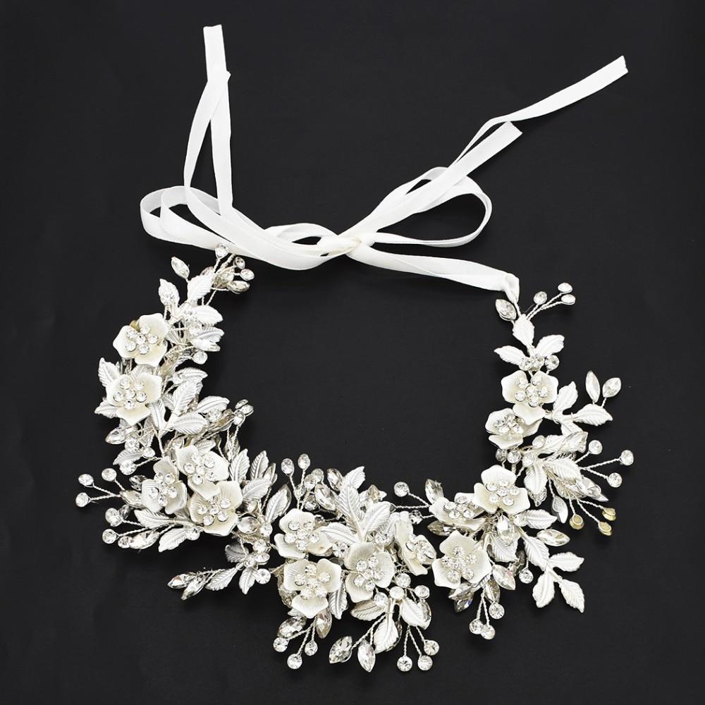 Bridal Headdress Rhinestone Crystal Flower Forehead Hair Accessorices Wedding Jewelry Princess Crown Tiara Headpiece Headbands